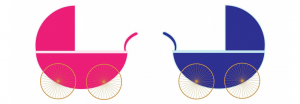 pink and blue prams