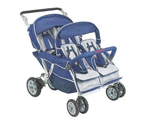 Angeles Infant Toddler SureStop Folding Commercial Bye-Bye Stroller (4-Passenger)